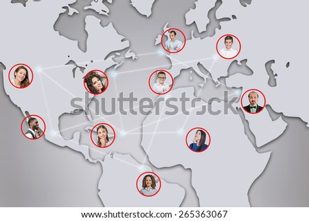 business and networking concept social or business network, men women worldwide connected interacting through social media technology world wide web. globalization cooperation teamwork  concept  - stock photo