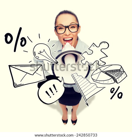 business and office concept - screaming businesswoman in eyeglasses with megaphone - stock photo