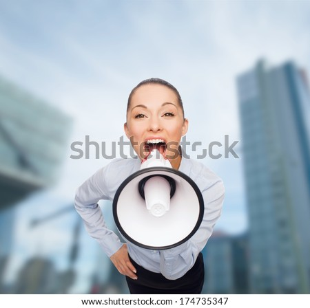 business and office concept - screaming businesswoman with megaphone - stock photo