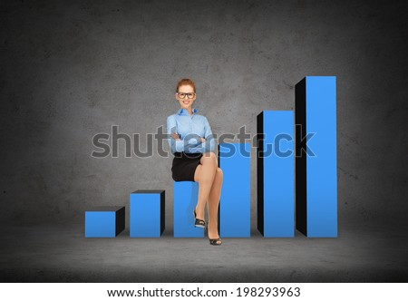 business and office concept - smiling businesswoman in eyeglasses sitting on a growing chart - stock photo