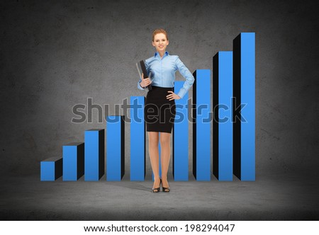business and office concept - young smiling businesswoman with folder and growing chart on the back - stock photo