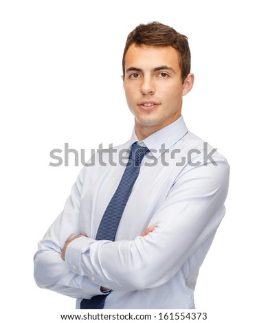 business and office, people concept - friendly young buisnessman - stock photo