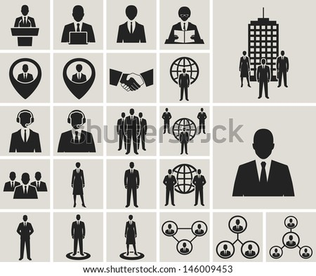 Business and office people, management, human resources icons set. raster version, vector file also available in gallery - stock photo