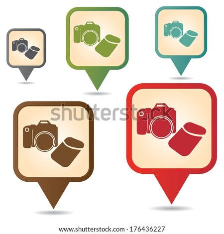 Business and Service Concept Present By Colorful Vintage Style Map Pointer Icon With DSLR Camera, Camera,Photographer or Hobby Shop Sign Isolated on White Background  - stock photo