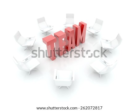 Business and team work 3d render, isolated on white. - stock photo