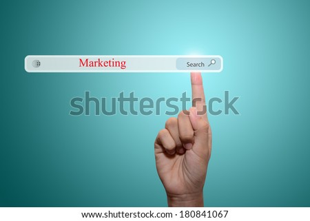 Business and technology, searching system and internet concept - male hand pressing Search marketing button.  - stock photo
