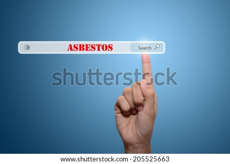 Business and technology, searching system and internet concept - male hand pressing Search ASBESTOS  - stock photo