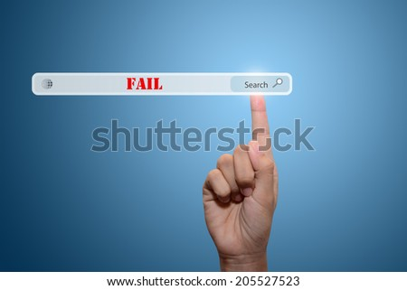 Business and technology, searching system and internet concept - male hand pressing Search Fail - stock photo