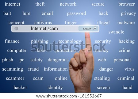 Business and technology, searching system and internet concept - male hand pressing Search Internet scam button.  - stock photo