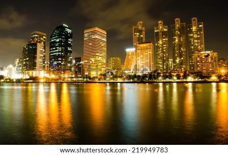 business area at night in Bangkok, Thailand - stock photo