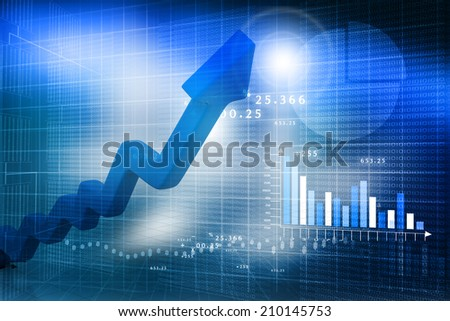 Business arrow  Graph on abstract blue background - stock photo