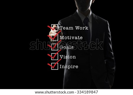 Business Asian Man Ticking Boxes On Transparent Screen - stock photo