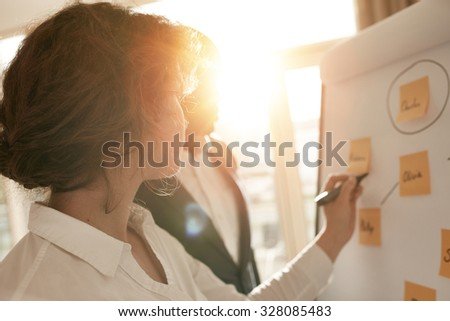 Business associates putting their ideas on flipchart during a presentation in conference room. Two business colleagues working together on a new project. - stock photo