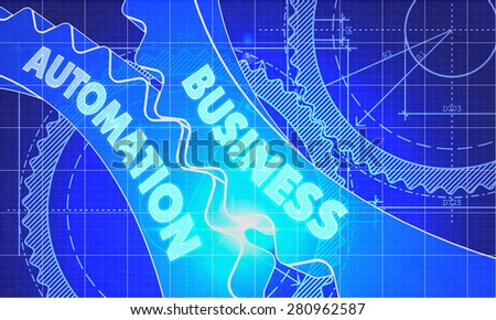 Business Automation on Blueprint of Cogs. Technical Drawing Style. 3d illustration with Glow Effect. - stock photo