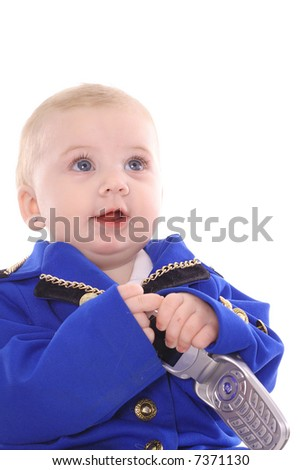 Business baby phone call - stock photo