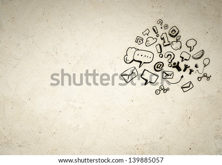 Business background image with drawn ideas and speech bubbles - stock photo