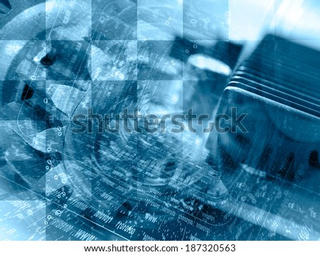 Business background in blues with electronic device and digits. - stock photo