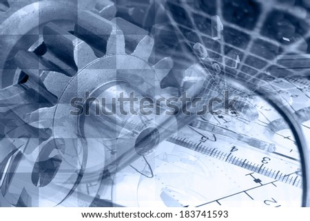 Business background in blues with gears and mail signs. - stock photo
