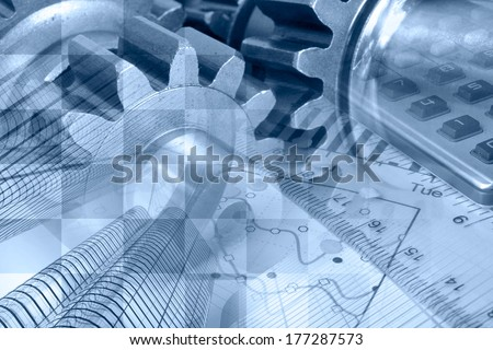 Business background in blues with graph, gear and buildings. - stock photo