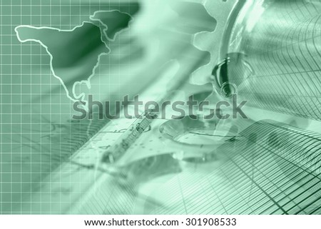 Business background in greens with buildings, map and graph. - stock photo