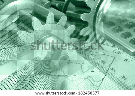 Business background in greens with graph, gear and buildings. - stock photo