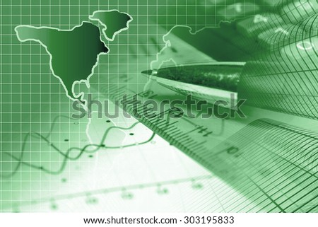 Business background in greens with graph, ruler, pen and calculator. - stock photo