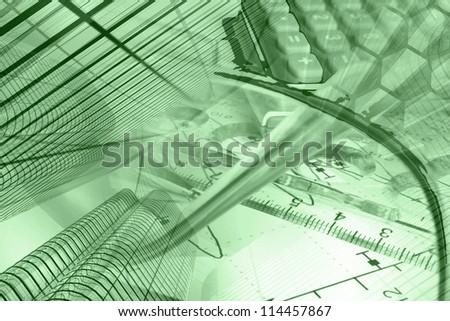 Business background in greens with graph, ruler, pen, buildings and calculator. - stock photo