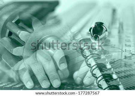Business background in greens with hands, gears and graph. - stock photo