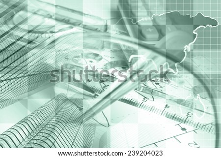 Business background in greens with map, buildings and pen. - stock photo