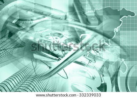 Business background in greens with map, buildings, graph and pen. - stock photo