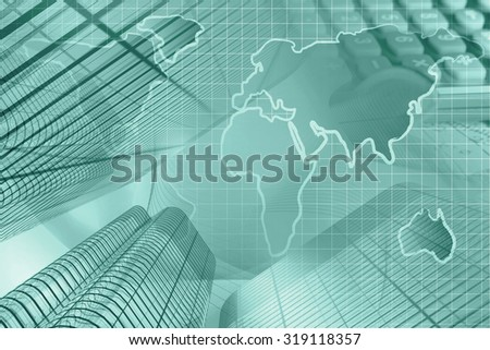 Business background in greens with map, calculator and buildings. - stock photo