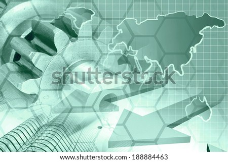 Business background in greens with map, gear and buildings. - stock photo