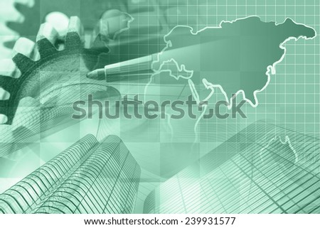 Business background in greens with money, map and pen. - stock photo