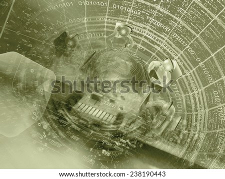 Business background in sepia with mans, globe and digits. - stock photo