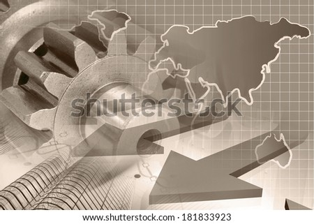 Business background in sepia with office buildings and gears. - stock photo