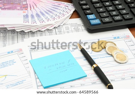 Business background, market analysis concept with money, financial data and calculator - stock photo