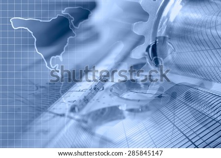 Business background with buildings, map and graph, blue toned. - stock photo