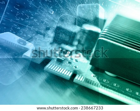Business background with electronic device and digits, green and blue toned. - stock photo