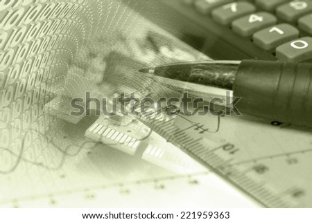 Business background with electronic device and digits, in sepia. - stock photo