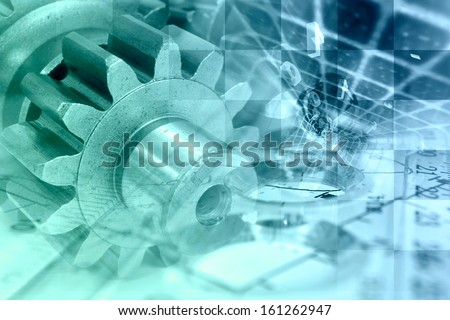 Business background with gear and digits in greens and blues. - stock photo