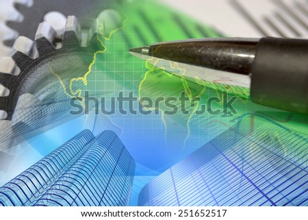 Business background with gears, map, buildings and pen. - stock photo