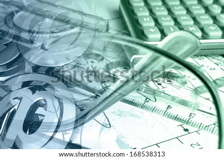 Business background with glass, graph and mail signs, in blues and greens. - stock photo