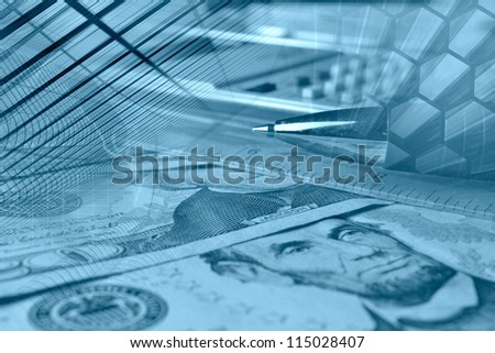 Business background with graph, ruler, pen and calculator, in blues. - stock photo