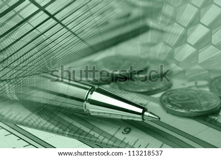 Business background with graph, ruler, pen, buildings and calculator, in greens. - stock photo