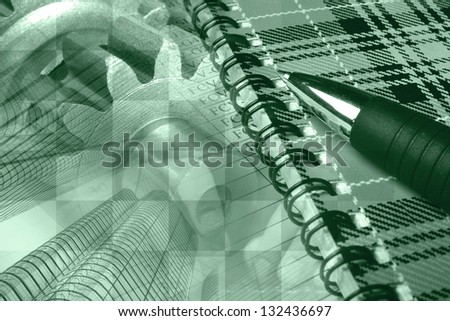 Business background with hands, buildings, notepad and pen, green toned. - stock photo