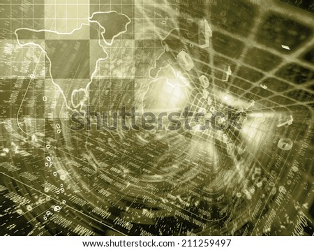Business background with map and digits, in sepia. - stock photo