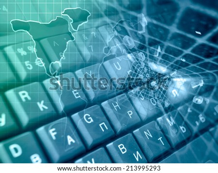Business background with map and keyboard, in greens and blues. - stock photo