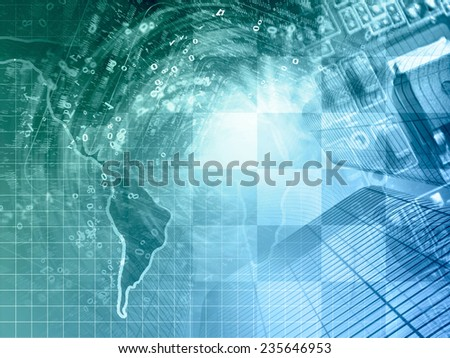 Business background with map, electronic device and digits, in greens and blues. - stock photo