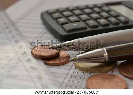 Business background with money, calculator and pen. - stock photo
