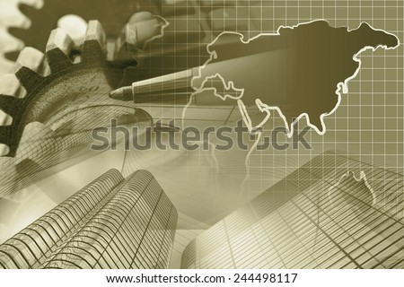 Business background with money, gears and pen, in sepia. - stock photo